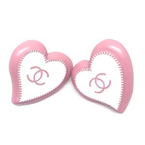 CHANEL Pink & White Heart Button Upcycled Earrings
